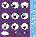 Cute baby ball little sheep cartoon expressions set Royalty Free Stock Photo