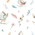 Cute baby bird animal seamless pattern, forest illustration for children clothing. Woodland watercolor Hand drawn boho