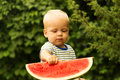 Cute baby boy with blond hairs eating watermelon in summer garden. Kid tasting healthy snack. Healthy food for children