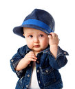 Cute baby boy holding hat his blue Royalty Free Stock Image