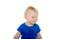 Cute baby boy month old with blond hair and blue shirt on white background Stock Photography