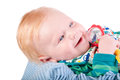 Cute Baby boy's portrait with bauble Royalty Free Stock Photo