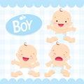 Cute baby boy sitting in a diaper
