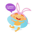 Cute Baby Boy Wearing Rabbit Ears Toddler Happy Cartoon Infant In Diaper Royalty Free Stock Photo