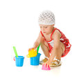 Cute baby with bucket and spade Royalty Free Stock Photography