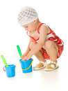 Cute baby with bucket and spade Royalty Free Stock Images