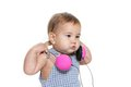 Cute baby child in headset over white Royalty Free Stock Images