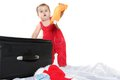 Cute baby child with a suitcase Royalty Free Stock Photography