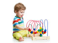 Cute baby with color educational toy pretty Royalty Free Stock Photos