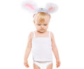 Cute baby in costume easter bunny on a white background Stock Images