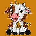 Cute baby cow cartoon sitting