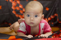 Cute baby crawling over bed Royalty Free Stock Photo