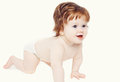 Cute baby crawls on a white background Royalty Free Stock Photos
