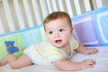 Cute Baby in Crib Royalty Free Stock Photo