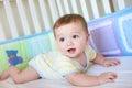 Cute Baby in Crib Stock Photos