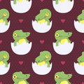 Cute baby crocodile in eggs seamless pattern