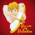 Cute Baby Cupid Shooting his Magic Arrow in Valentine's day, Vector Illustration Royalty Free Stock Photo