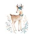 Cute baby deer animal for kindergarten, nursery isolated illust