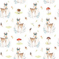 Cute baby deer animal seamless pattern for kindergarten, nursery isolated illustration for children clothing. Watercolor