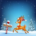Cute baby deer running with a north pole wooden sign
