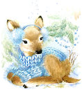 Cute baby deer in winter forest watercolor drawing illustration for christmas greetings card Royalty Free Stock Photos