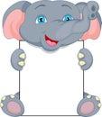 Cute baby elephant cartoon and blank sign Royalty Free Stock Photo