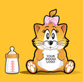 Cute baby female cat image you can put your brand logo in the object Stock Photography