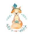 Cute baby fox animal for kindergarten, nursery isolated illustr