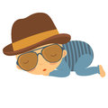 Cute baby gentleman illustration of sleeping Royalty Free Stock Photo
