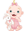 Cute baby girl adorable holding bunny toy Stock Photos