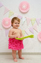 Cute baby girl anniversary little first birthday party with beautiful decorations Stock Photos