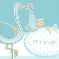 Cute baby girl announcement card stork child polka dot pink background Stock Photos