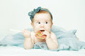 Cute baby girl birthday concept on background Stock Photography