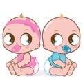 Cute baby girl and boy
