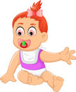 Cute baby girl cartoon waving