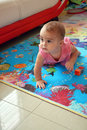 Cute baby girl crawling Royalty Free Stock Photo