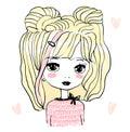 Cute baby girl, doll, princess. Hand drawn Royalty Free Stock Photo