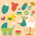 Cute Baby Girl Icons Stock Images