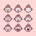 Cute Baby Girl Icons Royalty Free Stock Photo
