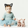 Cute baby girl and kitten, card Royalty Free Stock Photography