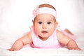 Cute baby girl in a pink dress Royalty Free Stock Photo