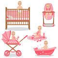 Cute Baby Girl Set. Royalty Free Stock Photo