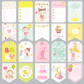 Cute Baby Girl Tags. Baby Banners. Scrapbook Labels. Cute Cards