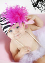 Cute Baby girl in tutu and hat Stock Images