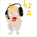 Cute Baby with headphones Royalty Free Stock Images