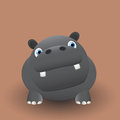 Cute baby hippo cartoon graphic art Royalty Free Stock Photography