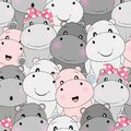 Cute baby hippo seamless pattern