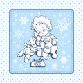 Cute Baby Illustration over Winter Pattern Royalty Free Stock Images