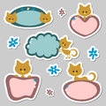 Cute baby kitten stickers Royalty Free Stock Images