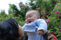 Cute baby laugh with  mother Stock Photography